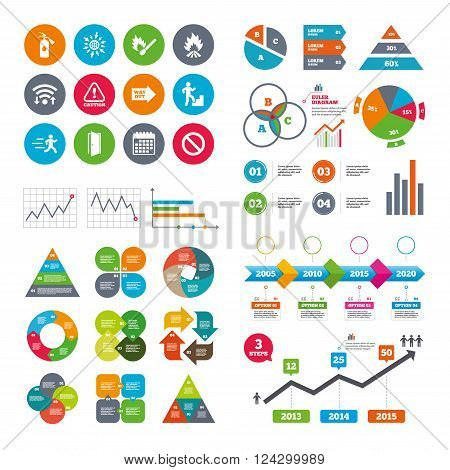 Wifi, calendar and web icons. Fire safety, emergency icons. Fire extinguisher, exit and attention signs. Caution, water drop and way out symbols. Diagram charts design.
