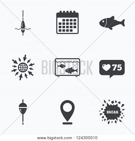 Calendar, like counter and go to web icons. Fishing icons. Fish with fishermen hook sign. Float bobber symbol. Aquarium icon. Location pointer.