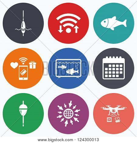 Wifi, mobile payments and drones icons. Fishing icons. Fish with fishermen hook sign. Float bobber symbol. Aquarium icon. Calendar symbol.