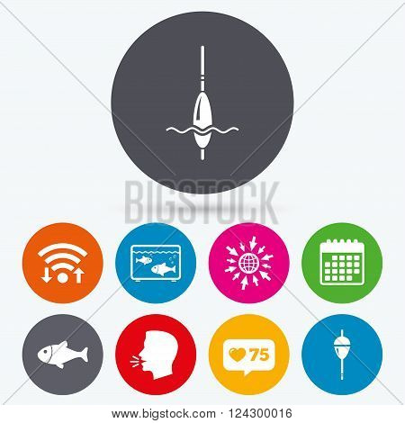 Wifi, like counter and calendar icons. Fishing icons. Fish with fishermen hook sign. Float bobber symbol. Aquarium icon. Human talk, go to web.