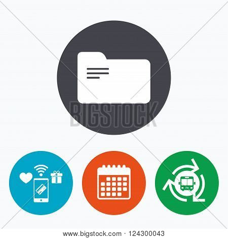 Document folder sign. Accounting binder symbol. Bookkeeping management. Mobile payments, calendar and wifi icons. Bus shuttle.