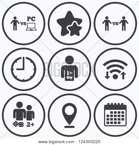 Clock, wifi and stars icons. Gamer icons. Board and PC games players signs. Player vs PC symbol. Calendar symbol.