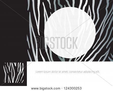 Album cover design. Abstract black and white striped background with frame for text. Template for Print. Modern Album design.