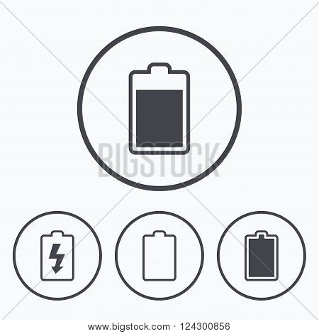 Battery charging icons. Electricity signs symbols. Charge levels: full, empty. Icons in circles.