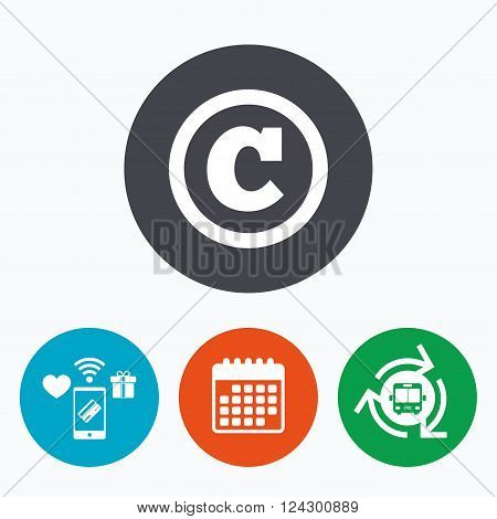 Copyright sign icon. Copyright button. Mobile payments, calendar and wifi icons. Bus shuttle.