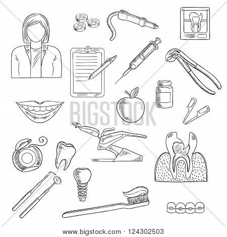 Dentistry icons set with dentist, x-ray and cross section of cracked tooth, dentist chair and instruments, syringe and pills, tooth implant and braces, healthy smile and toothbrush, floss, clipboard and apple