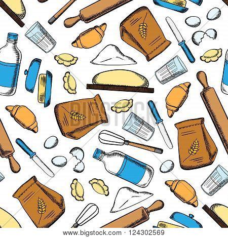 Homemade baking ingredients and utensil seamless pattern with flour and milk, eggs and butter, dough and rolling pins, whisks and knives