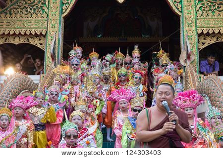 Children Before Becoming A Monk In Traditional Buddhist Monk Ordination Ceremony