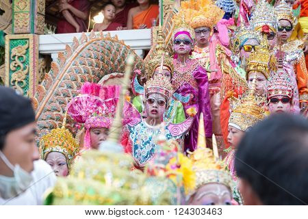 CHIANG MAI, THAILAND - APRIL 2: children before becoming a monk in traditional buddhist monk ordination ceremony at Roy Jun temple in Chiang Mai, Thailand on April 2, 2016.