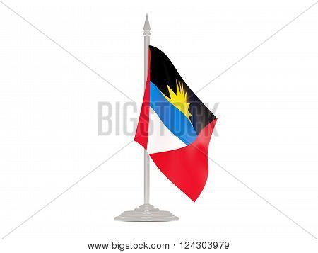 Flag Of Antigua And Barbuda With Flagpole. 3D Render