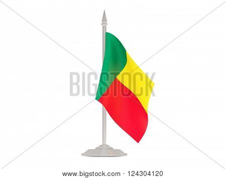 Flag of benin  with flagpole isolated on white. 3d render