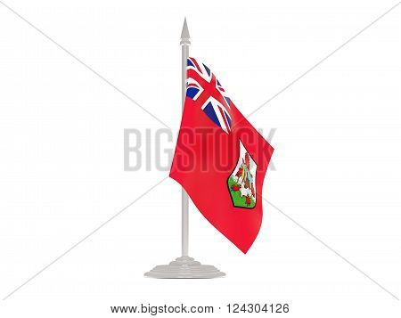 Flag of bermuda  with flagpole isolated on white. 3d render