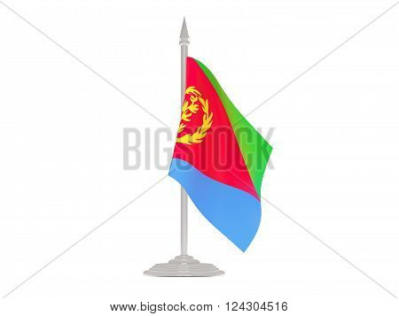 Flag Of Eritrea With Flagpole. 3D Render