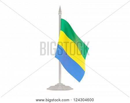 Flag Of Gabon With Flagpole. 3D Render