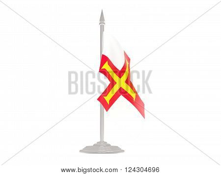 Flag Of Guernsey With Flagpole. 3D Render
