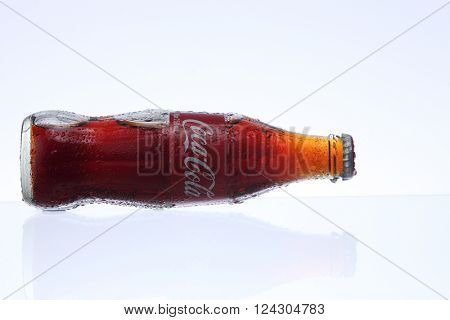 KUALA LUMPUR, MALAYSIA - Feb 17, 2016 cold coca cola bottle on the white background