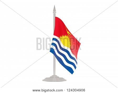 Flag Of Kiribati With Flagpole. 3D Render