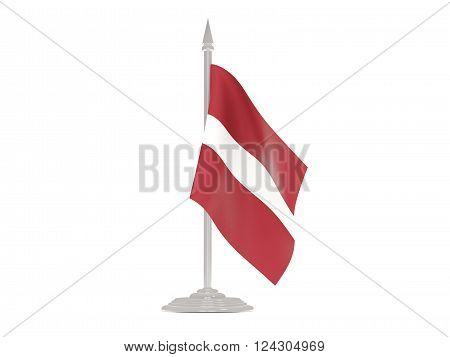 Flag Of Latvia With Flagpole. 3D Render