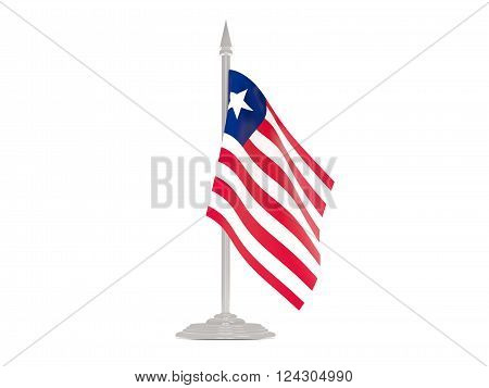 Flag Of Liberia With Flagpole. 3D Render