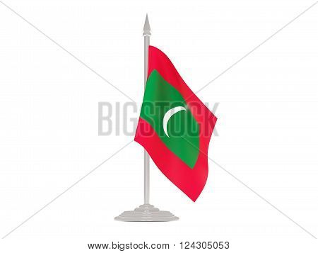 Flag Of Maldives With Flagpole. 3D Render