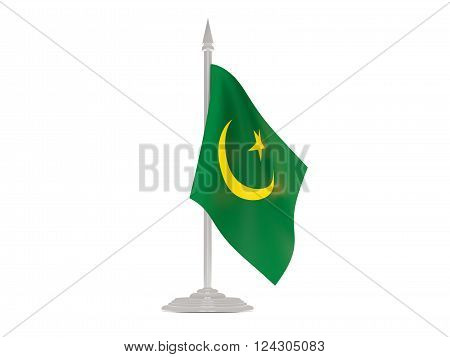 Flag Of Mauritania With Flagpole. 3D Render