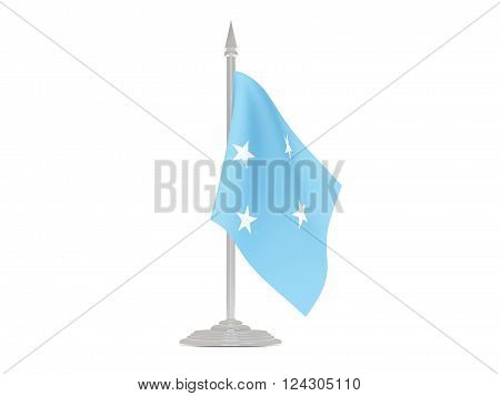Flag of micronesia  with flagpole isolated on white. 3d render