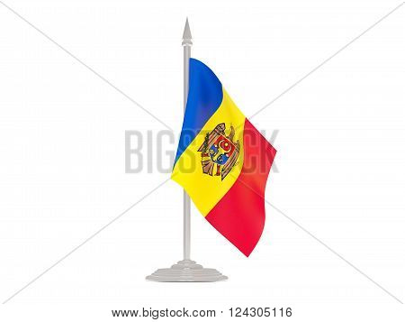 Flag Of Moldova With Flagpole. 3D Render