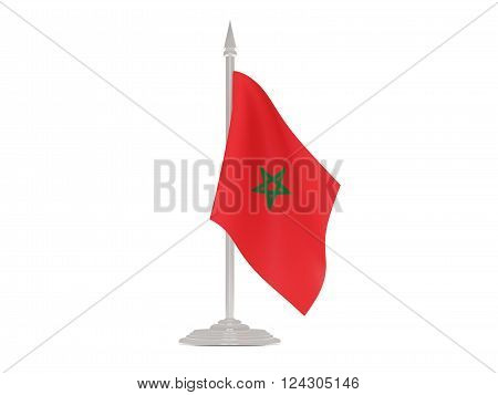 Flag Of Morocco With Flagpole. 3D Render