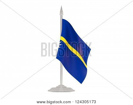 Flag Of Nauru With Flagpole. 3D Render