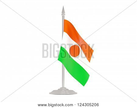 Flag Of Niger With Flagpole. 3D Render