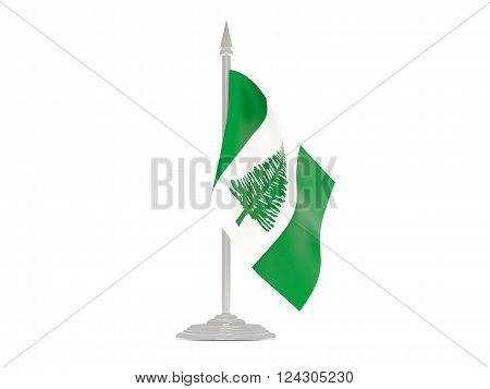 Flag Of Norfolk Island With Flagpole. 3D Render