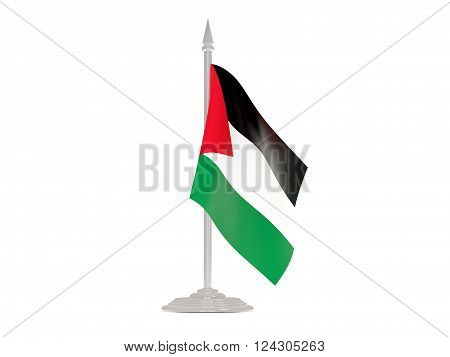 Flag Of Palestinian Territory With Flagpole. 3D Render