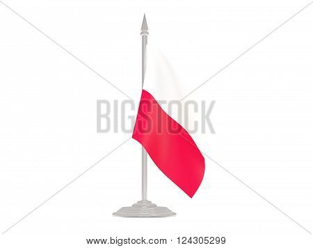 Flag Of Poland With Flagpole. 3D Render