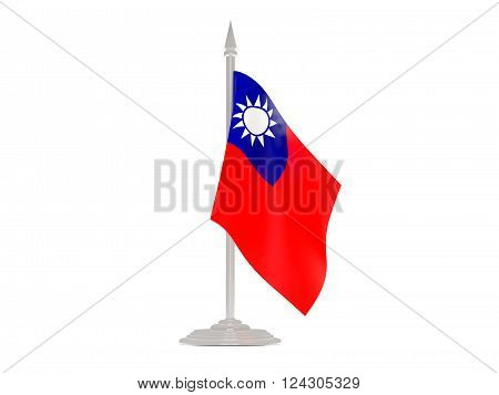 Flag Of Republic Of China With Flagpole. 3D Render