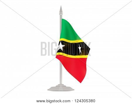 Flag Of Saint Kitts And Nevis With Flagpole. 3D Render