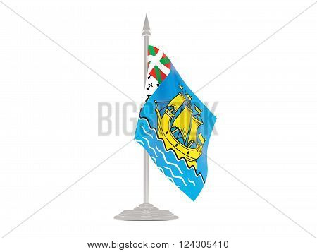 Flag of saint pierre and miquelon  with flagpole isolated on white. 3d render