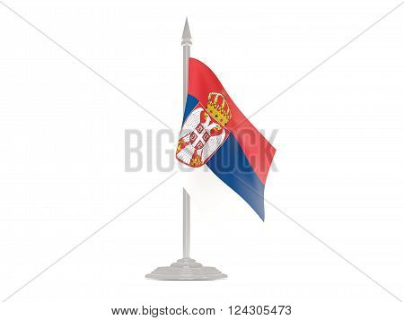 Flag Of Serbia With Flagpole. 3D Render
