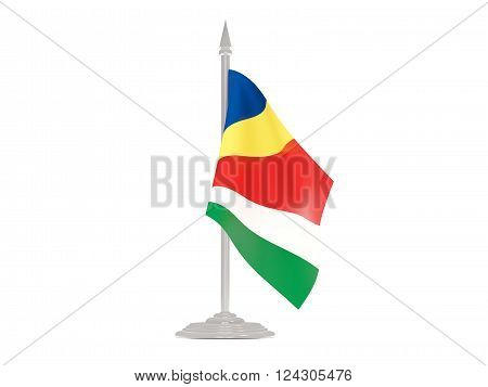 Flag Of Seychelles With Flagpole. 3D Render