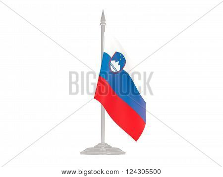 Flag Of Slovenia With Flagpole. 3D Render