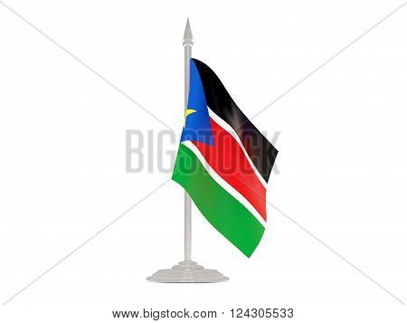 Flag of south sudan  with flagpole isolated on white. 3d render