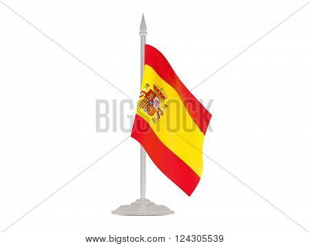 Flag Of Spain With Flagpole. 3D Render
