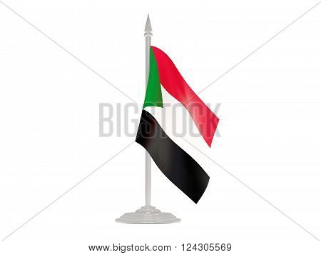 Flag Of Sudan With Flagpole. 3D Render