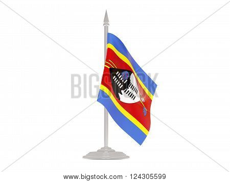 Flag of swaziland  with flagpole isolated on white. 3d render