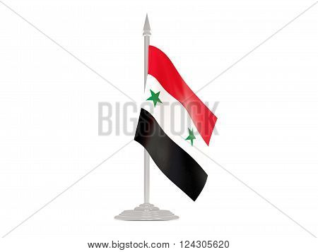 Flag Of Syria With Flagpole. 3D Render