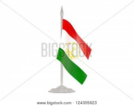 Flag Of Tajikistan With Flagpole. 3D Render