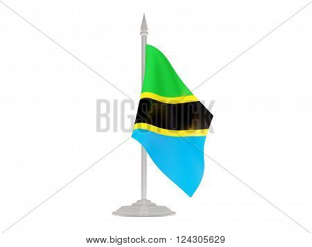 Flag Of Tanzania With Flagpole. 3D Render