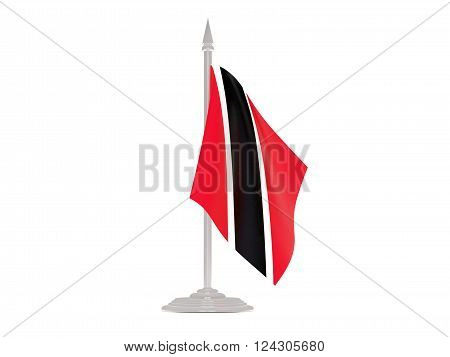 Flag Of Trinidad And Tobago With Flagpole. 3D Render
