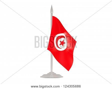 Flag Of Tunisia With Flagpole. 3D Render