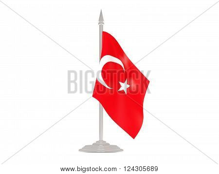 Flag Of Turkey With Flagpole. 3D Render