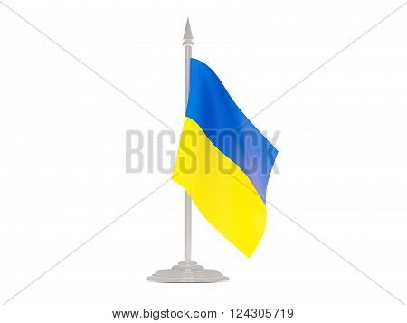 Flag of ukraine  with flagpole isolated on white. 3d render